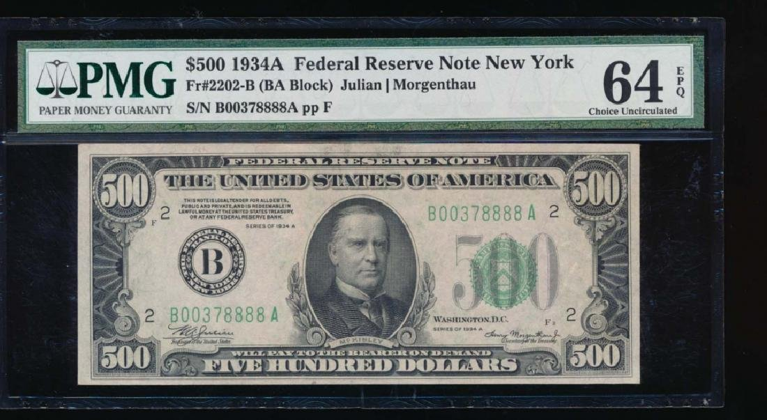 1934A $500 New York Federal Reserve Note PMG 64EPQ