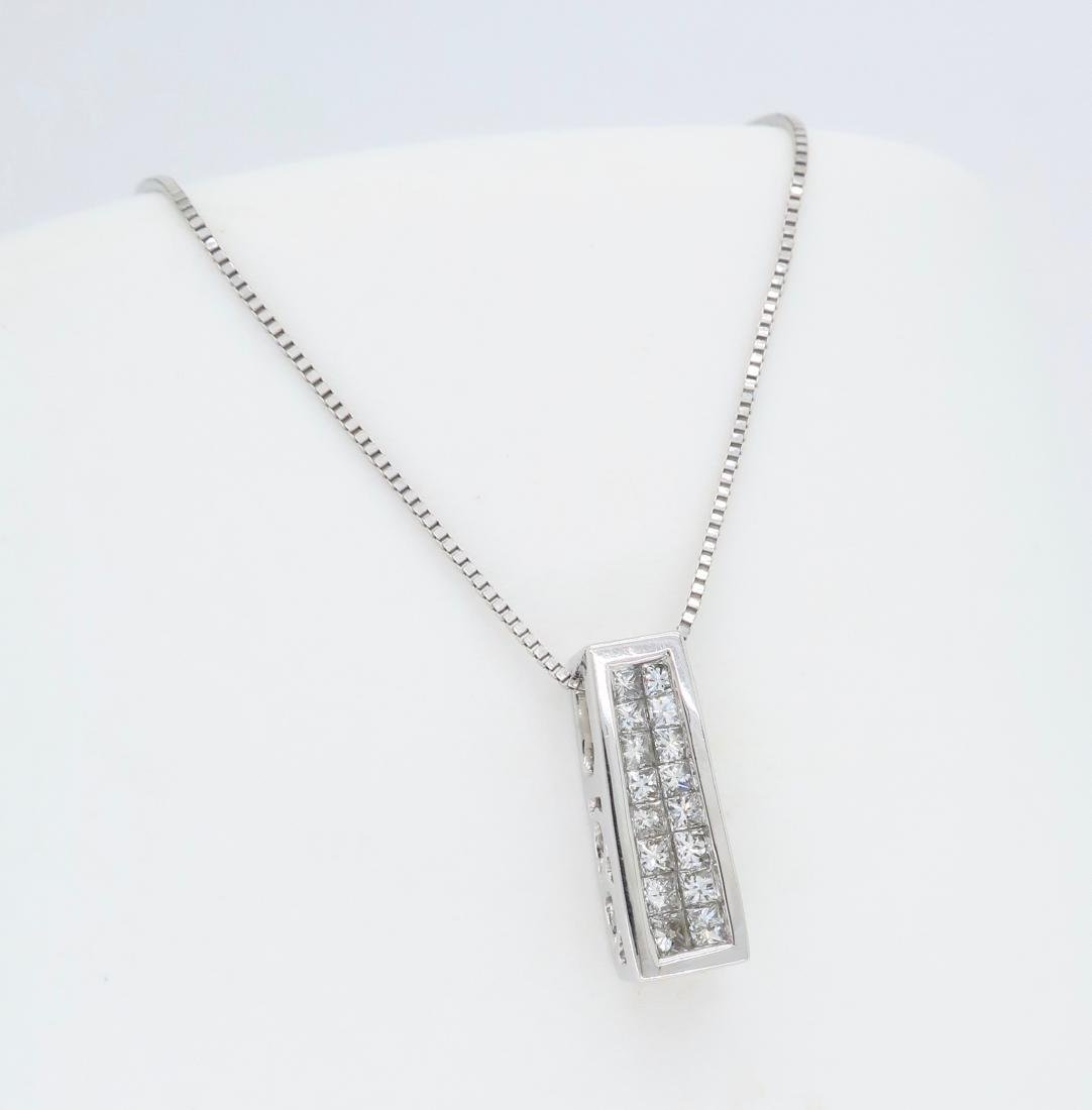 14KT White Gold Diamond Pendant with Chain - 3