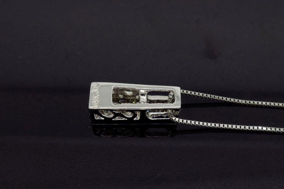 14KT White Gold Diamond Pendant with Chain - 5