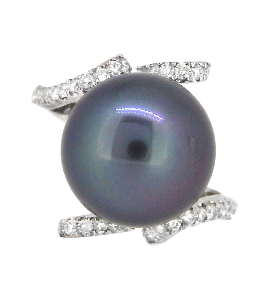 18KT White Gold 13mm Tahitian Pearl and Diamond Ring