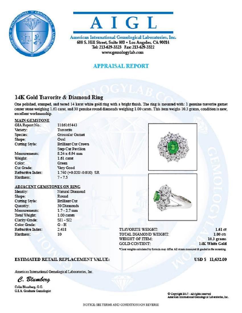 14KT White Gold 1.61ct GIA Cert Tsavorite and Diamond - 3