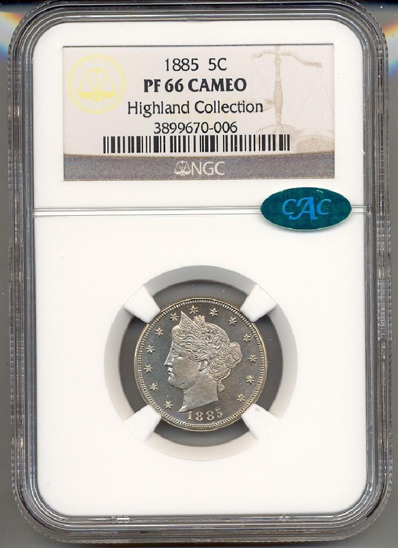 1885 V Cent Coin NGC PF66 Cameo CAC