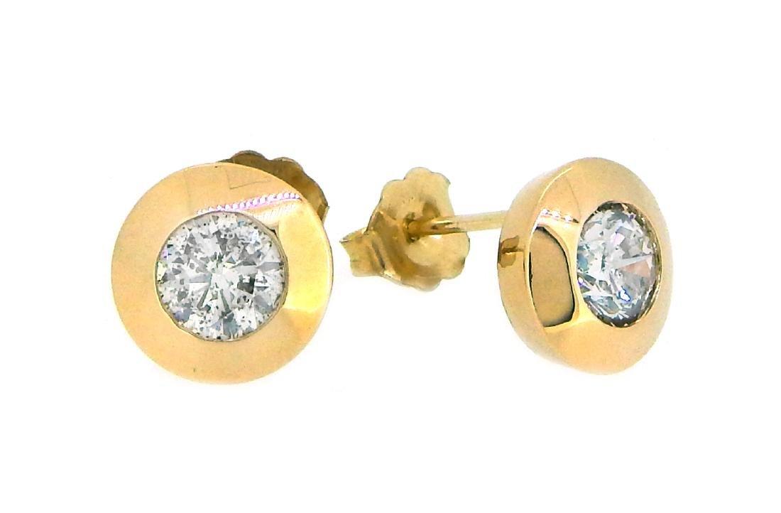 14KT Yellow Gold 1.28ctw Diamond Earrings