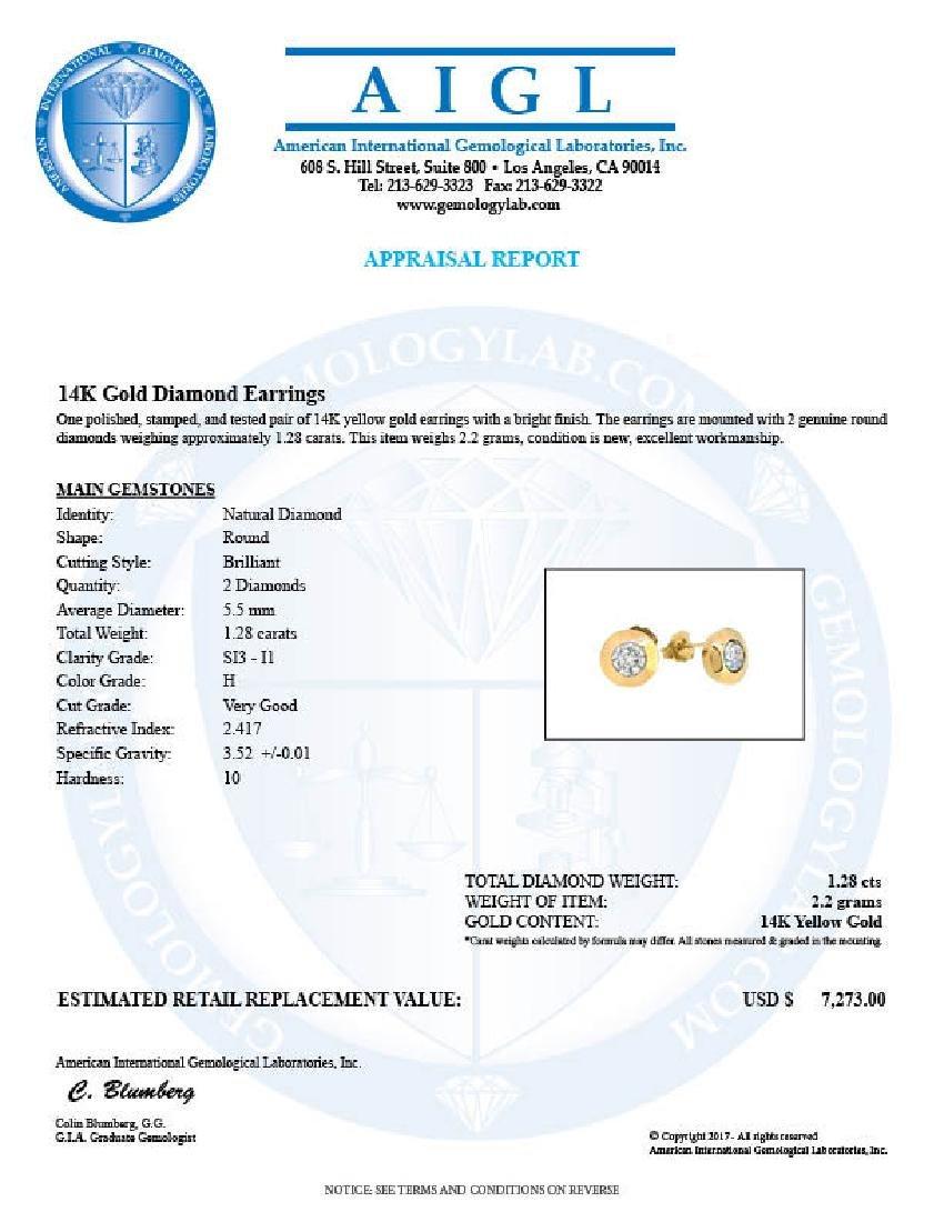 14KT Yellow Gold 1.28ctw Diamond Earrings - 2