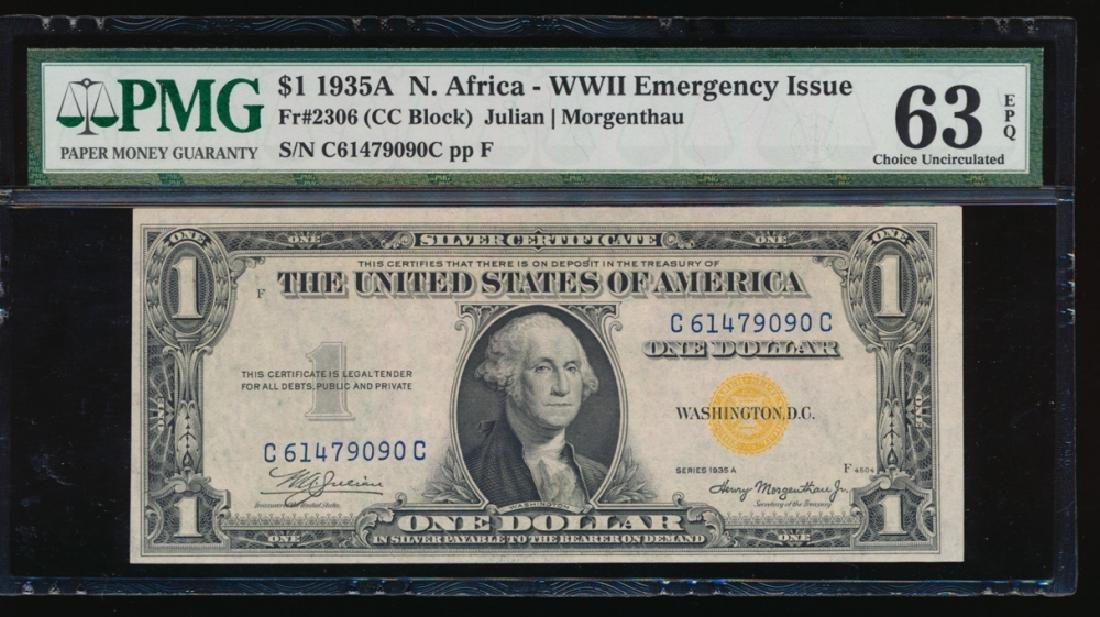 1935A $1 North Africa Silver Certificate PMG 63EPQ