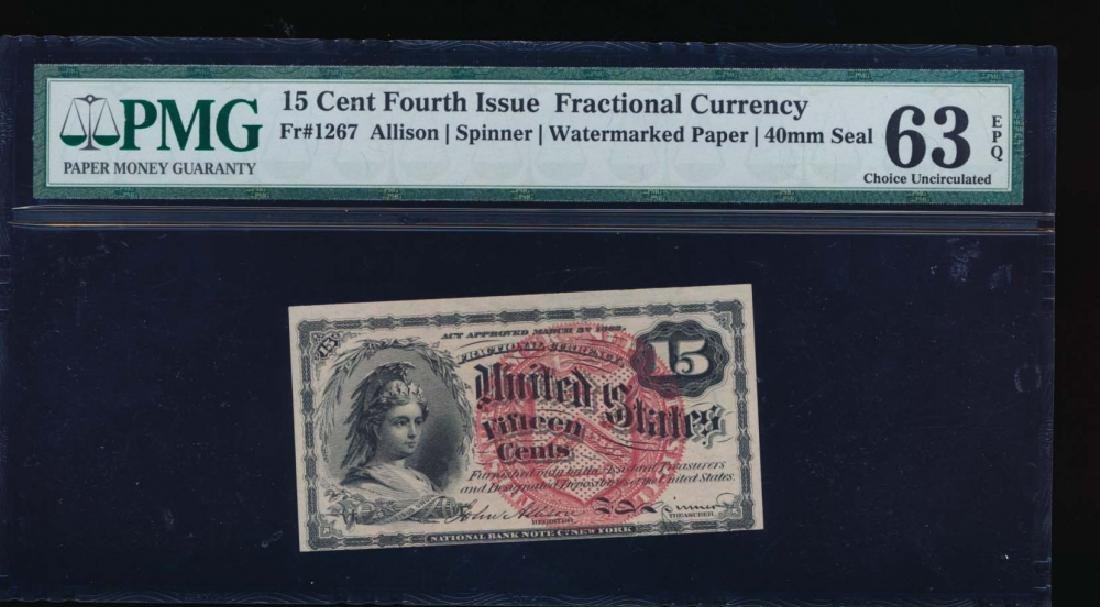 15 Cent Fourth Issue Fractional Note PMG 63EPQ