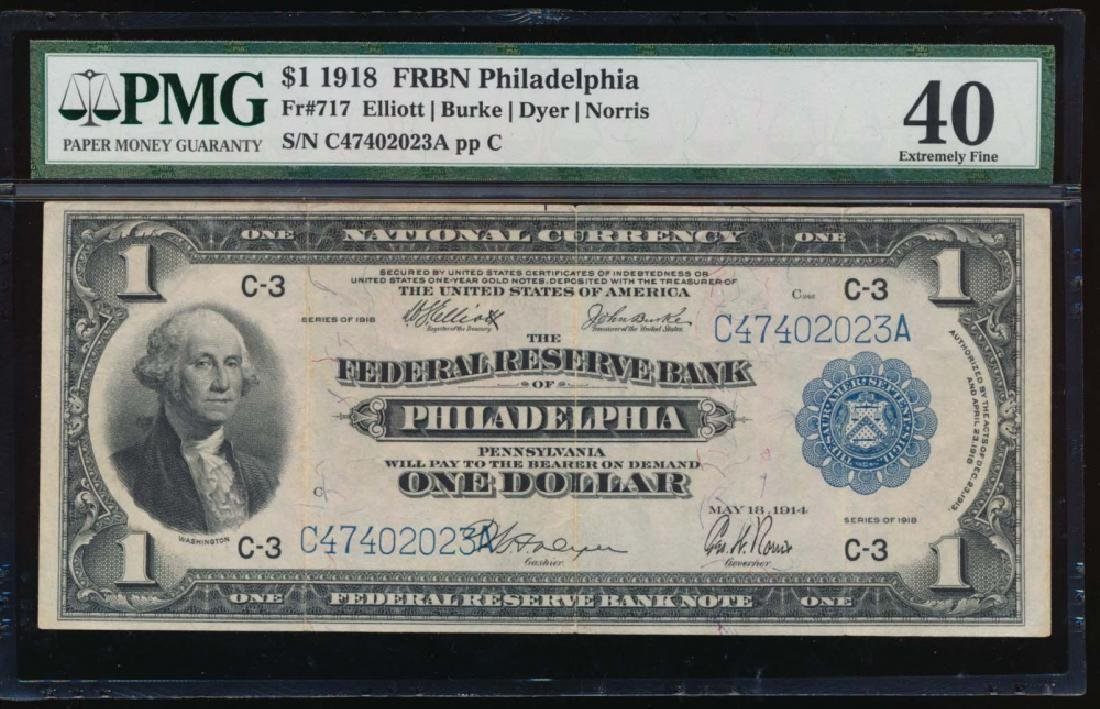 1918 $1 Philadelphia Federal Reserve Bank Note PMG 40