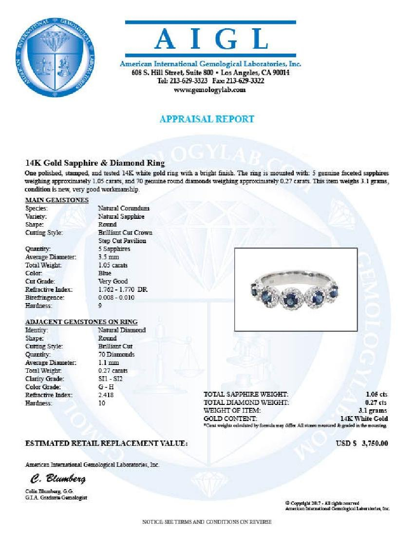 14KT White Gold 1.05ctw Blue Sapphire and Diamond Ring - 2