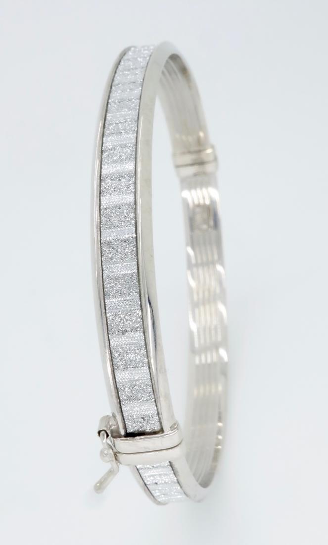 Sterling Silver Glitter Bangle Bracelet - 3