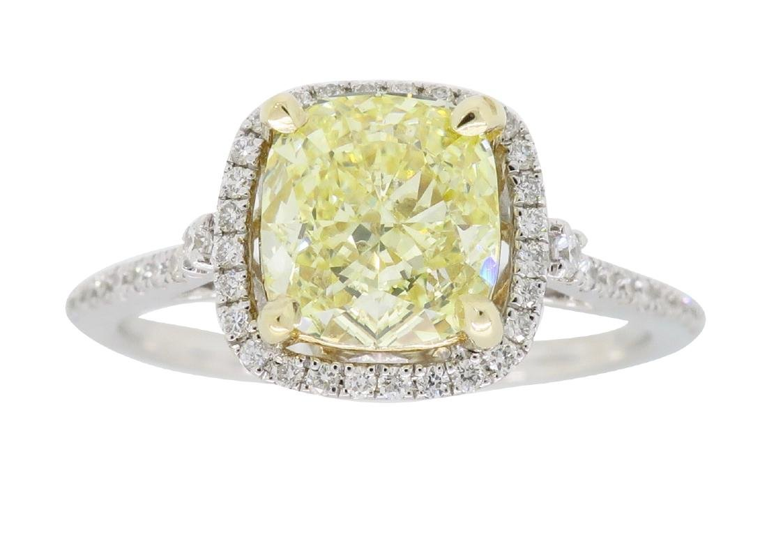 14KT Two Tone Gold 1.42ct Fancy Light Yellow Diamond