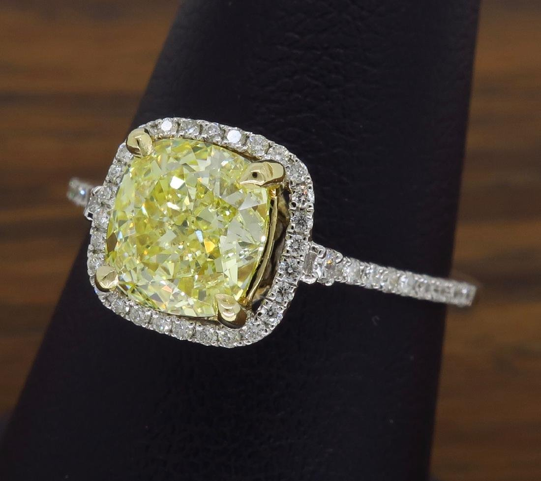 14KT Two Tone Gold 1.42ct Fancy Light Yellow Diamond - 5