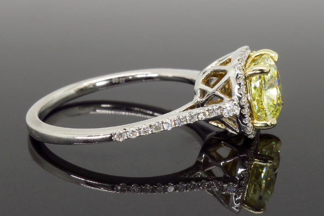 14KT Two Tone Gold 1.42ct Fancy Light Yellow Diamond - 8