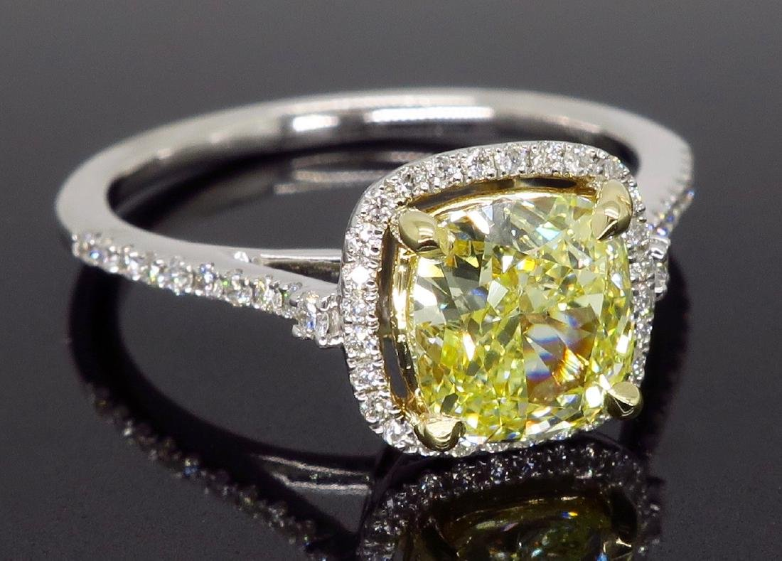 14KT Two Tone Gold 1.42ct Fancy Light Yellow Diamond - 9