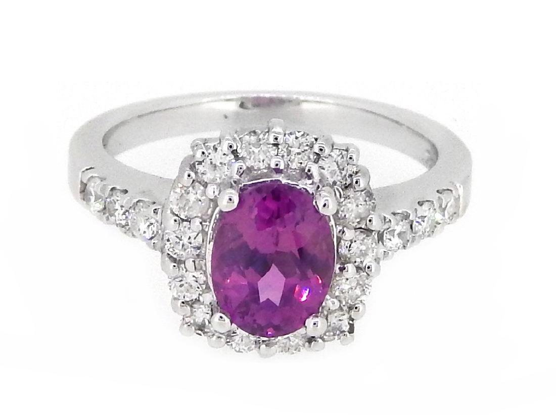 18KT White Gold 1.62ct GIA Cert Pink Sapphire and