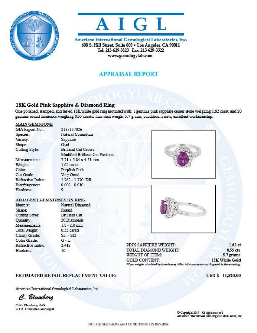 18KT White Gold 1.62ct GIA Cert Pink Sapphire and - 2