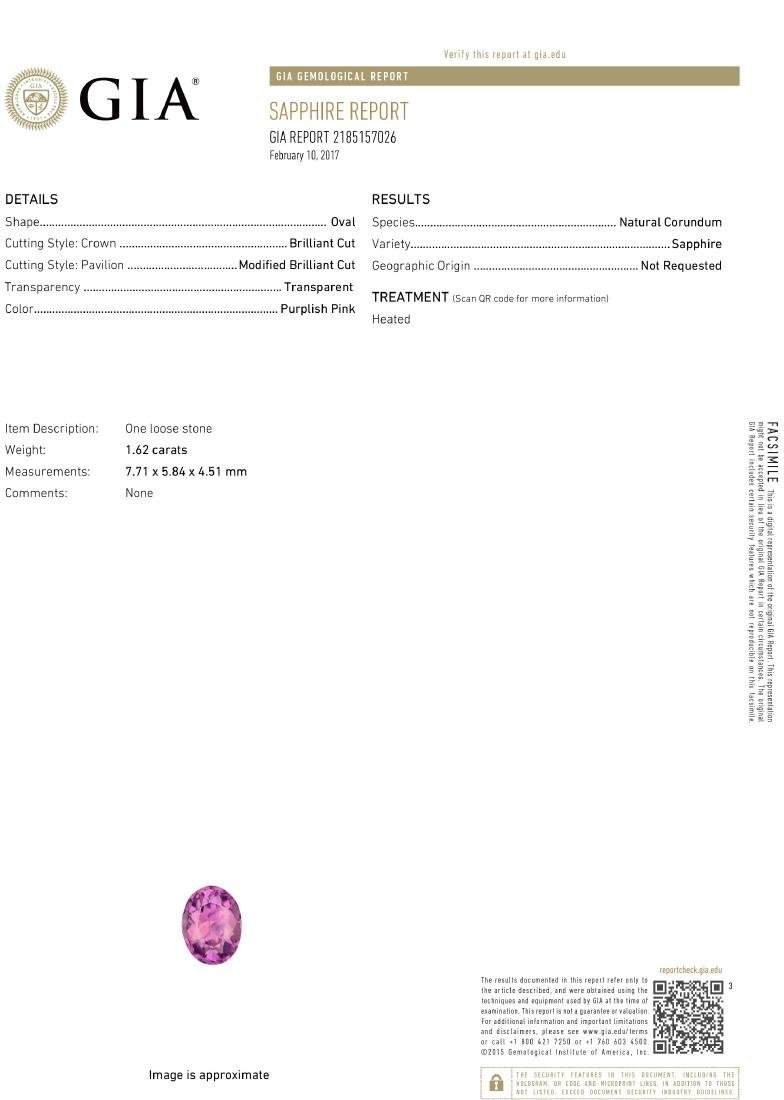 18KT White Gold 1.62ct GIA Cert Pink Sapphire and - 3