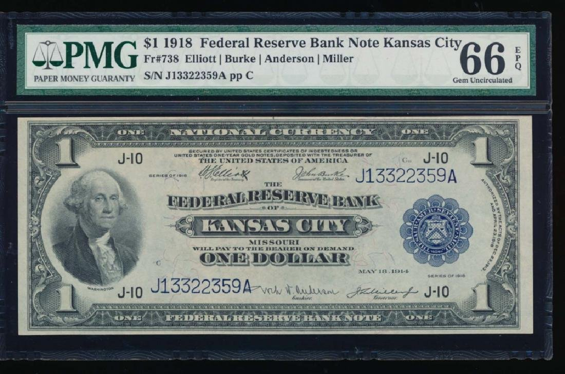 1918 $1 Kansas City Federal Reserve Bank Note PMG 66EPQ