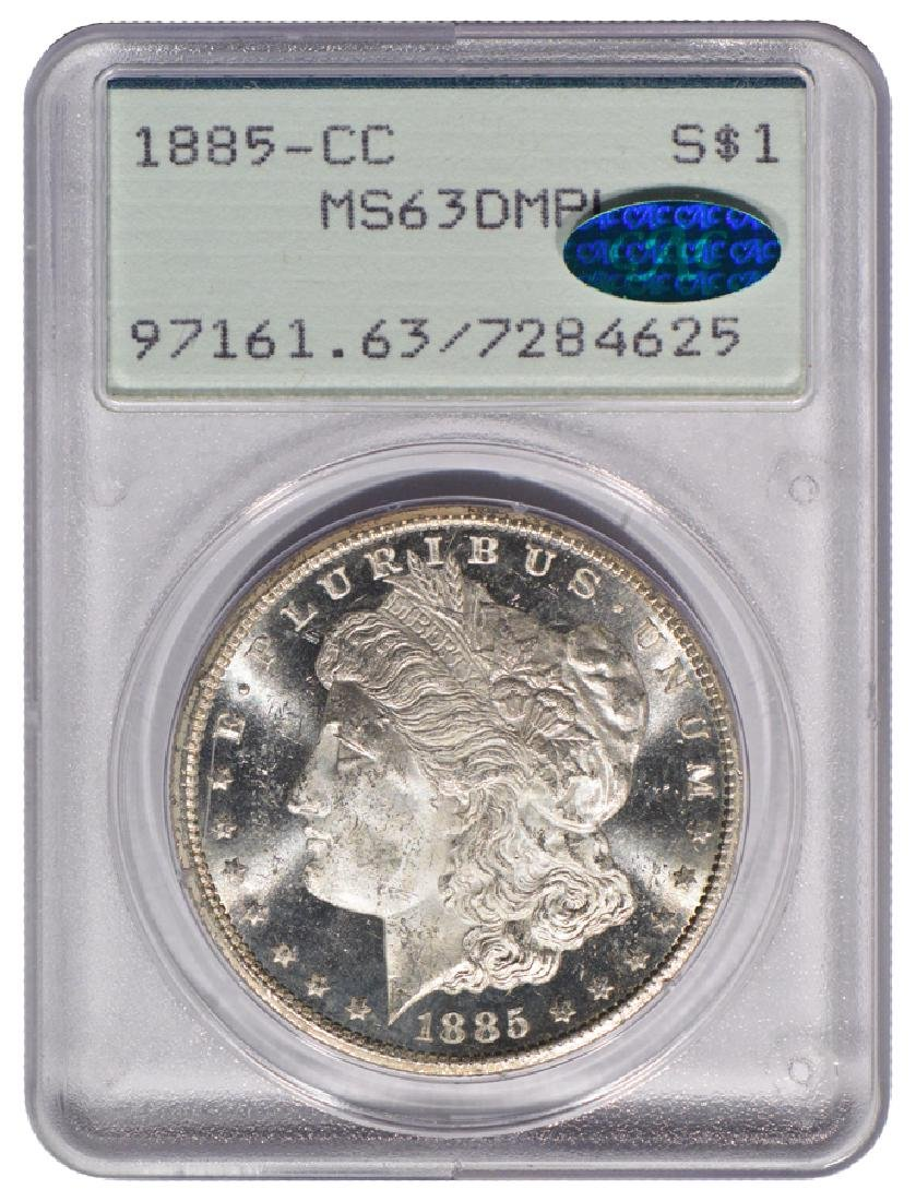 1885-CC $1 Morgan Silver Dollar Coin PCGS MS63DMPL CAC