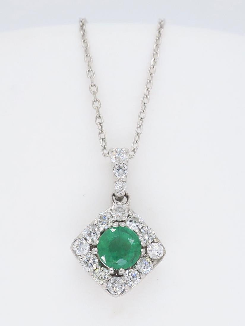 14KT White Gold 0.40ct Emerald and Diamond Pendant with