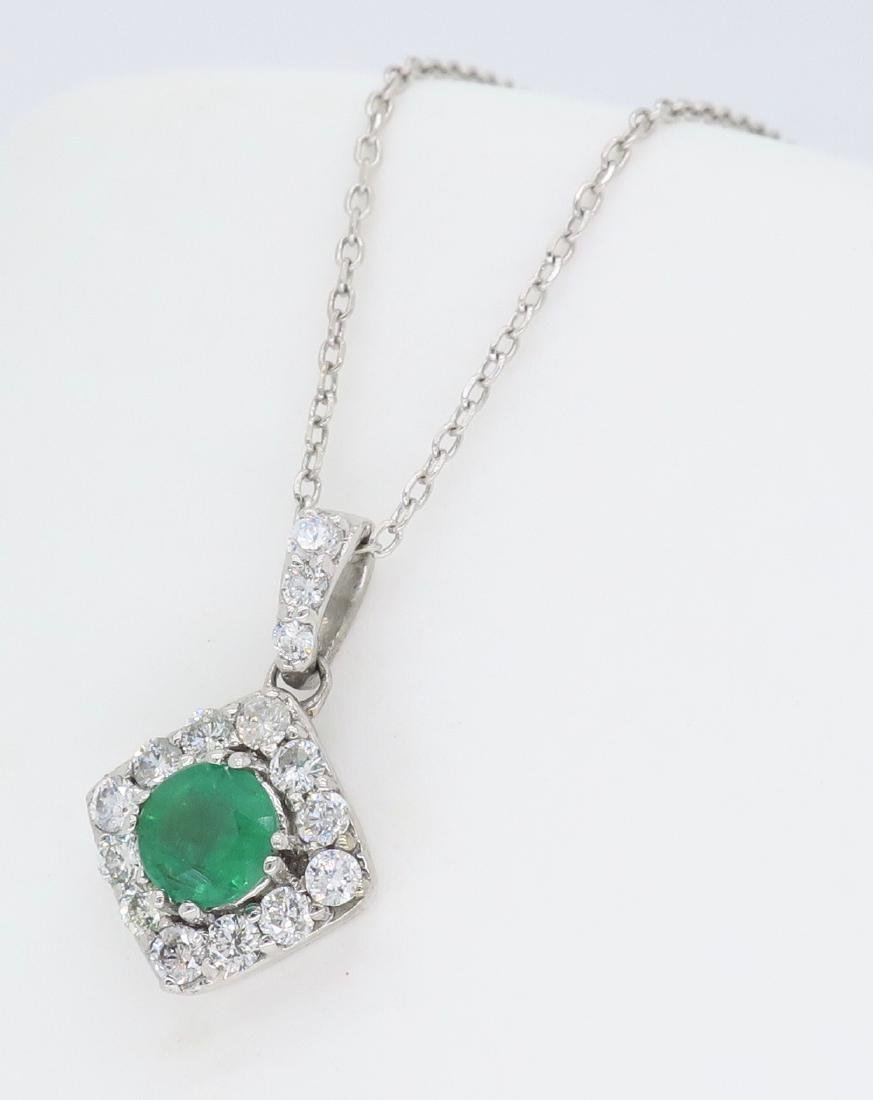 14KT White Gold 0.40ct Emerald and Diamond Pendant with - 2