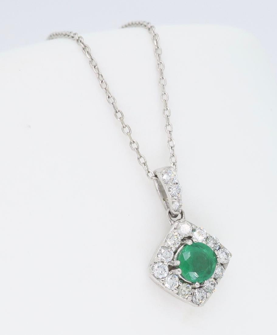 14KT White Gold 0.40ct Emerald and Diamond Pendant with - 3