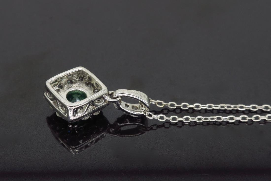 14KT White Gold 0.40ct Emerald and Diamond Pendant with - 6
