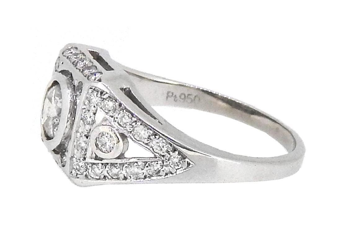 Platinum 0.88ctw Diamond Ring - 2