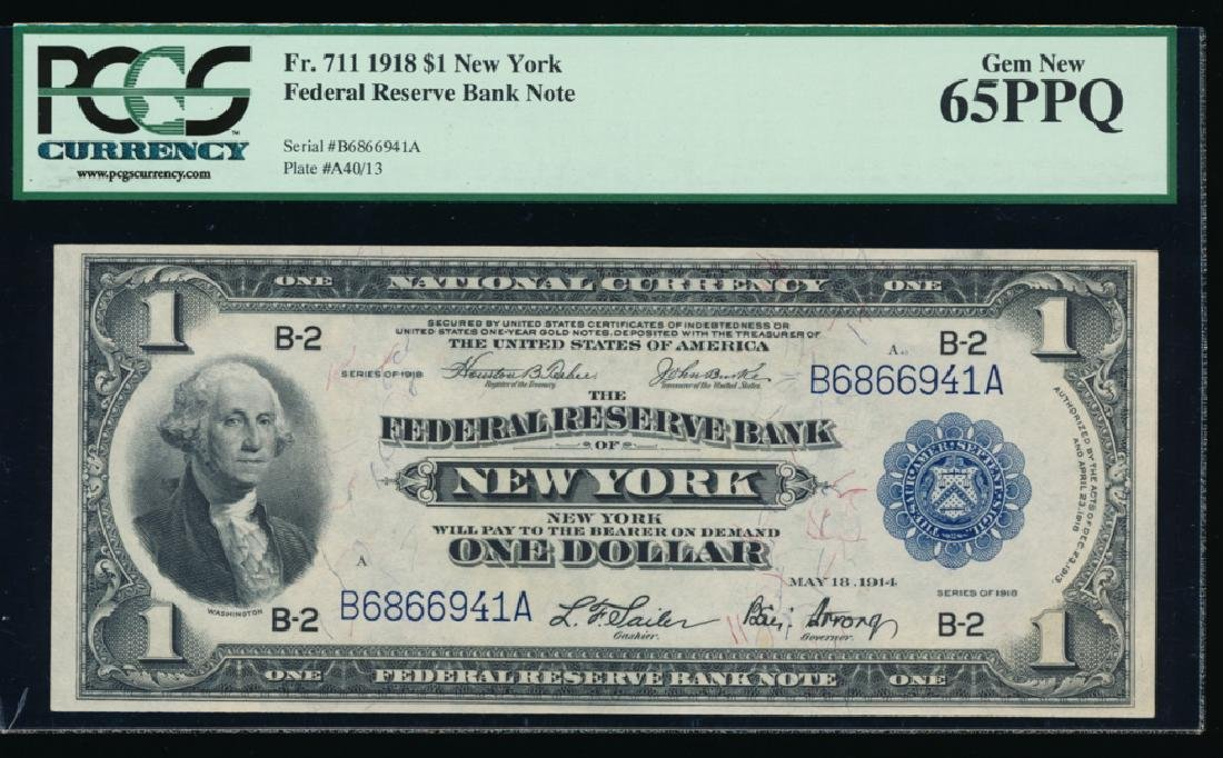 1918 $1 New York Large Federal Reserve Bank Note PCGS