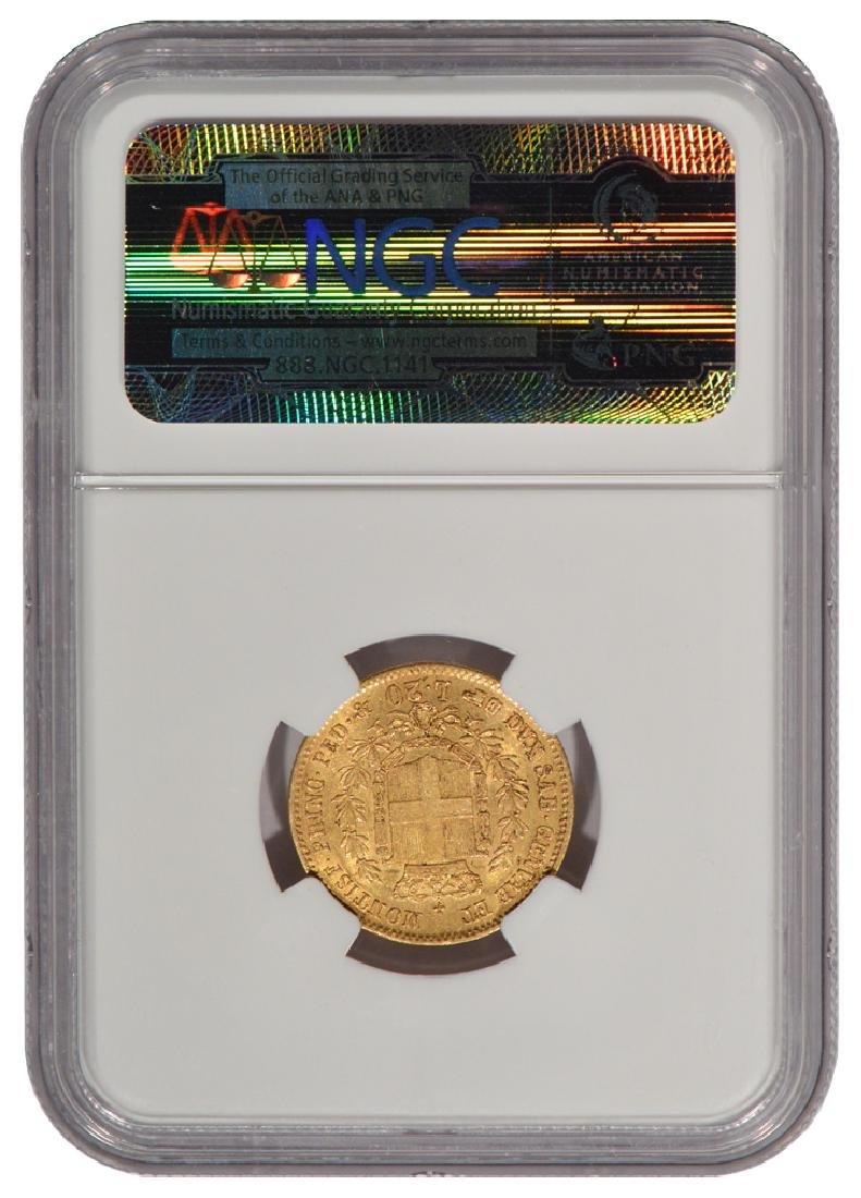 1857 Eagle B Italy 20 Lire Gold Coin NGC AU55 - 2
