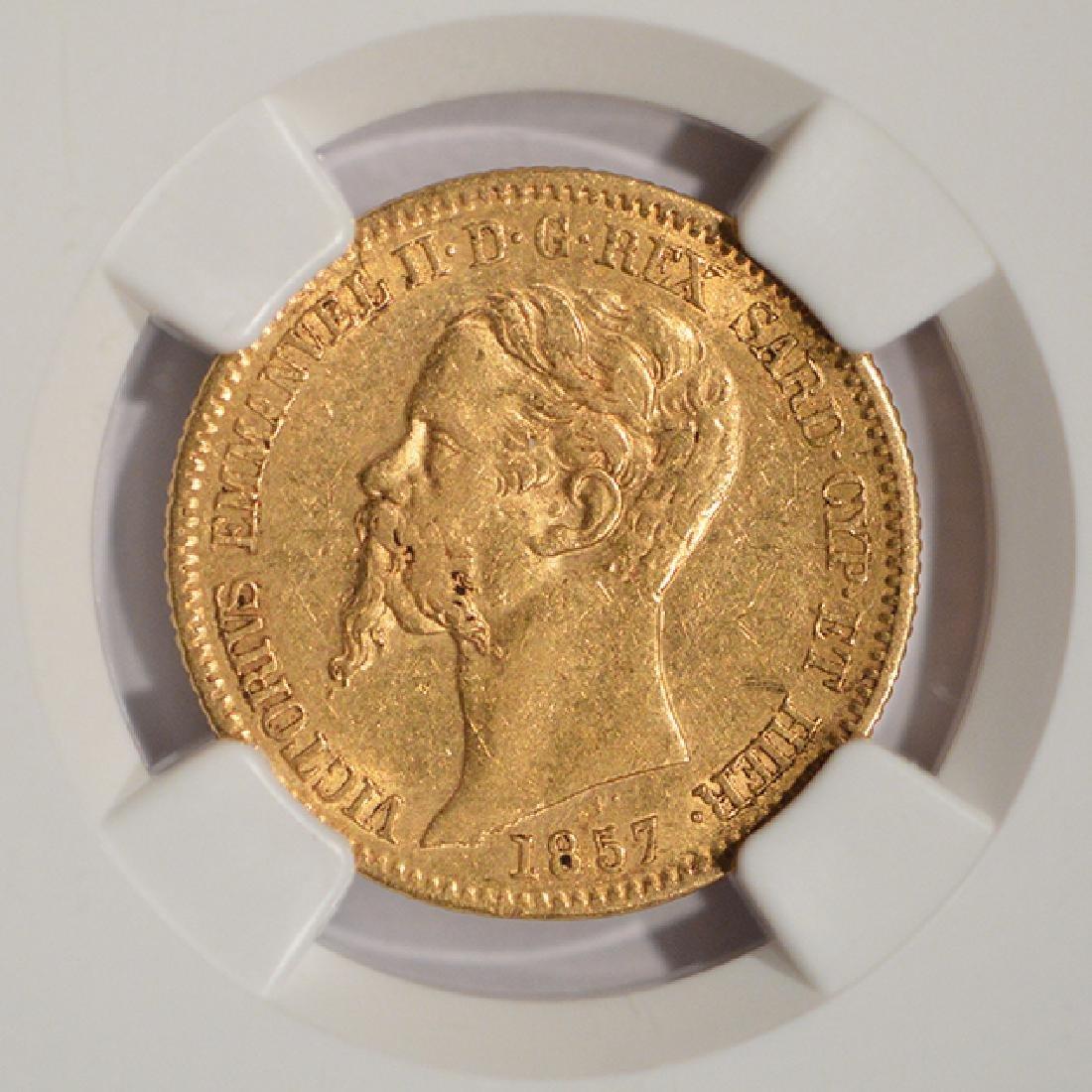 1857 Eagle B Italy 20 Lire Gold Coin NGC AU55 - 3