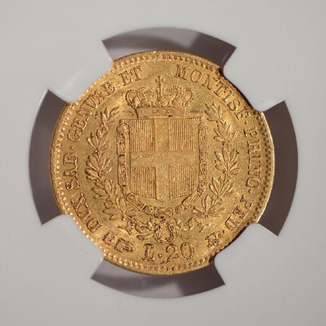 1857 Eagle B Italy 20 Lire Gold Coin NGC AU55 - 4