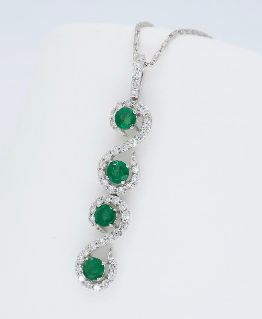 18KT White Gold Emerald and Diamond Pendant - 2