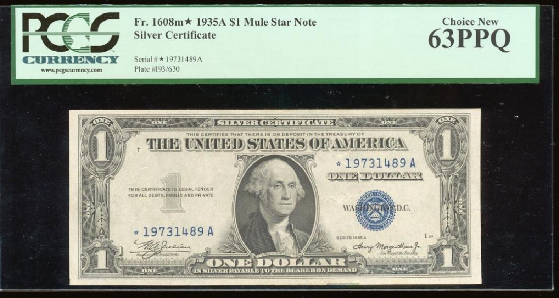 1935A $1 Silver Certificate PCGS 63PPQ