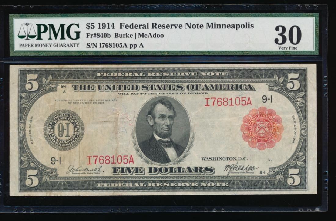 1914 $5 Minneapolis Red Seal Federal Reserve Note PMG