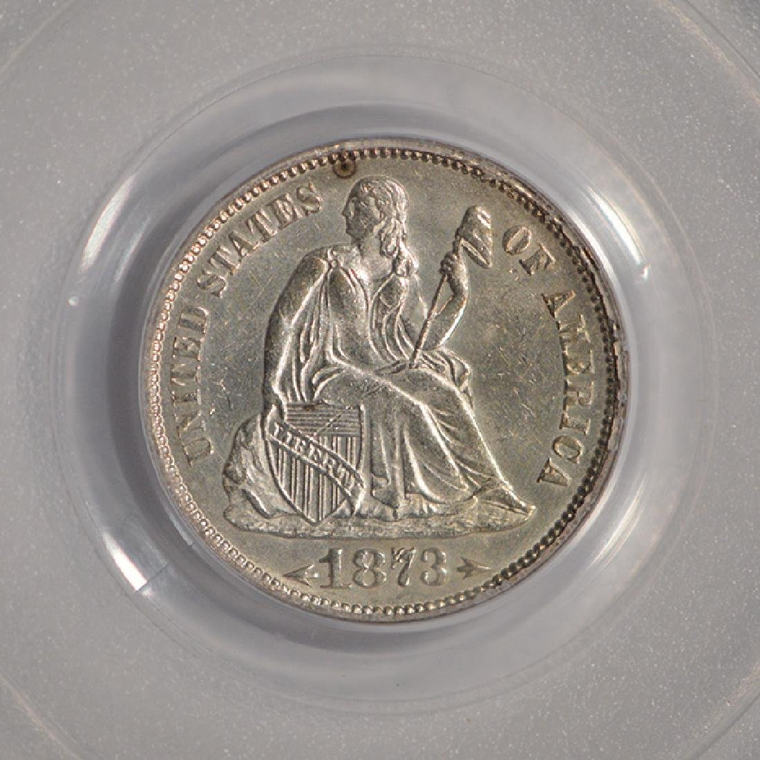 1873 Arrows Seated Liberty Dime PCGS MS62 - 3