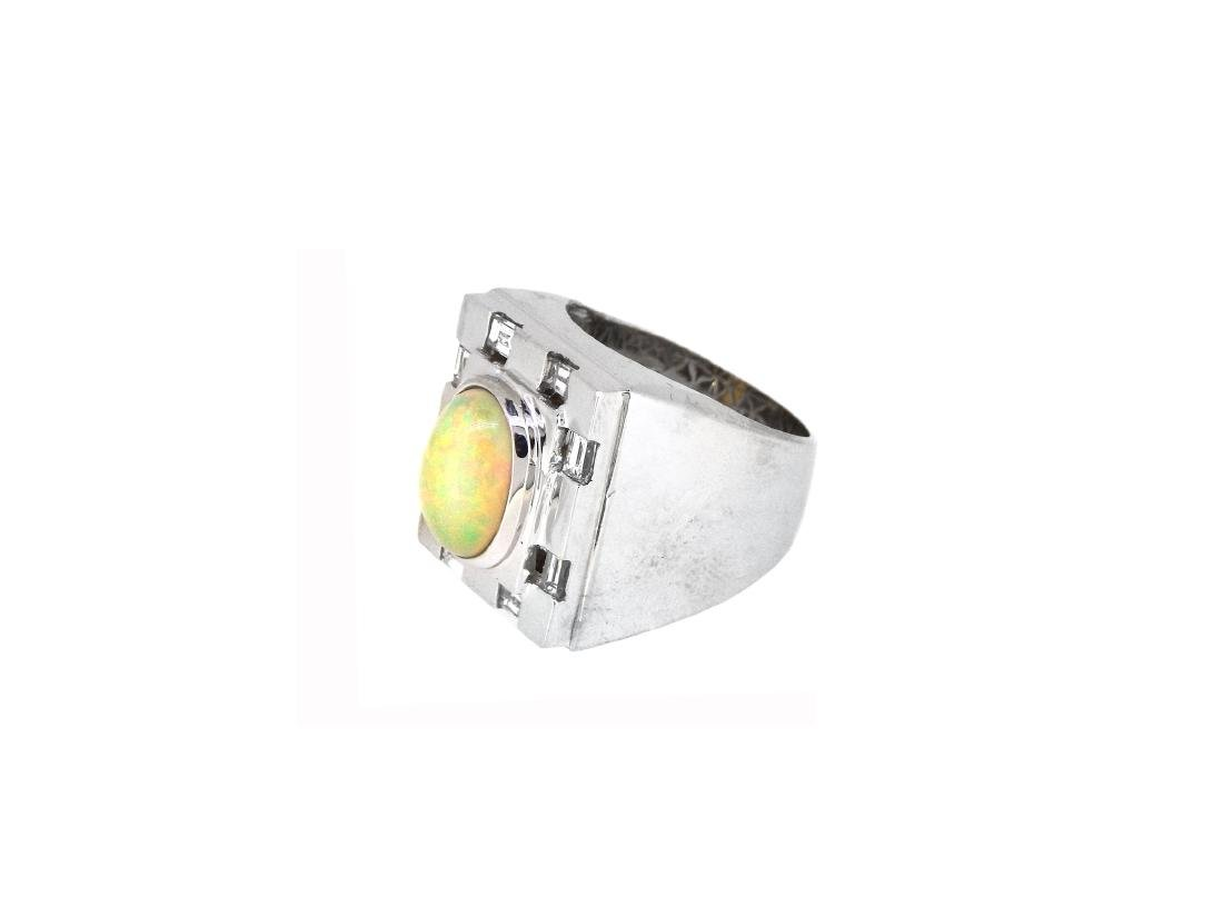 14KT White Gold 2.82ct Opal and Diamond Ring - 2