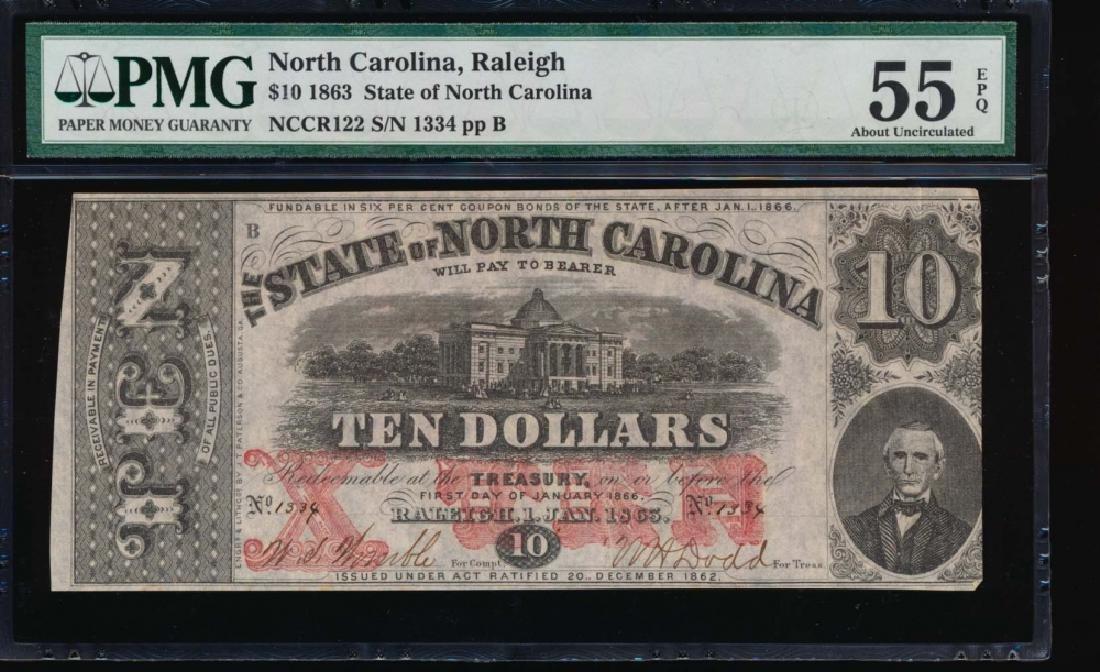 1863 $10 North Carolina Obsolete Note PMG 55EPQ