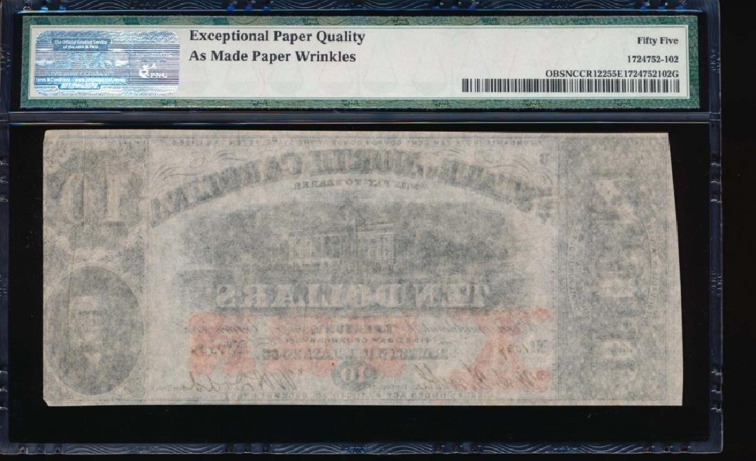 1863 $10 North Carolina Obsolete Note PMG 55EPQ - 2
