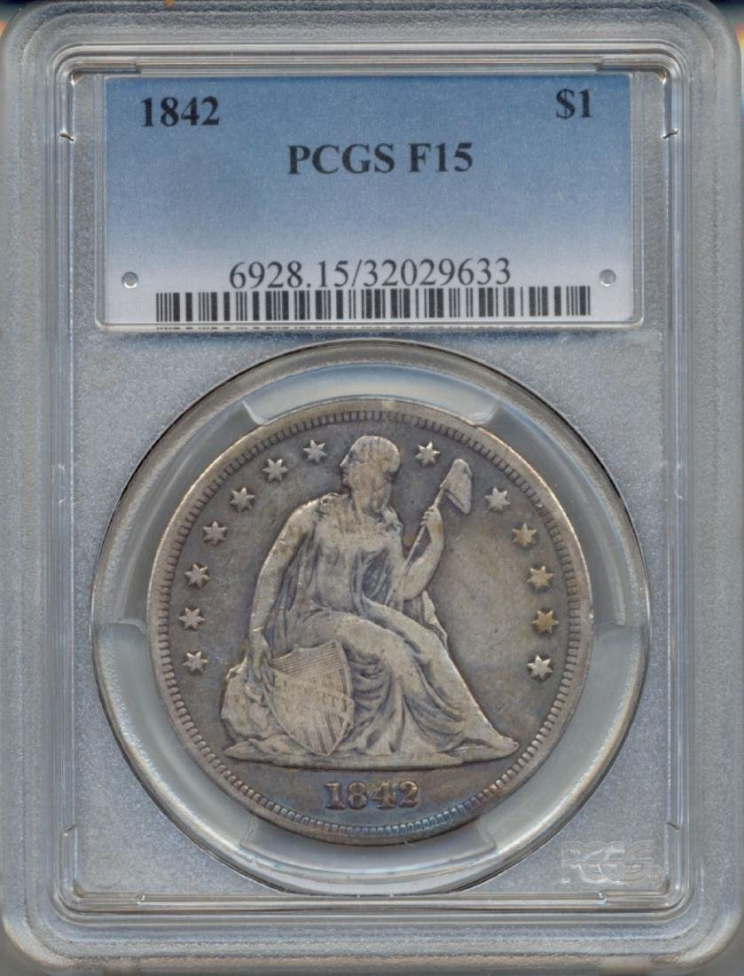 1842 $1 Seated Dollar Coin PCGS F15