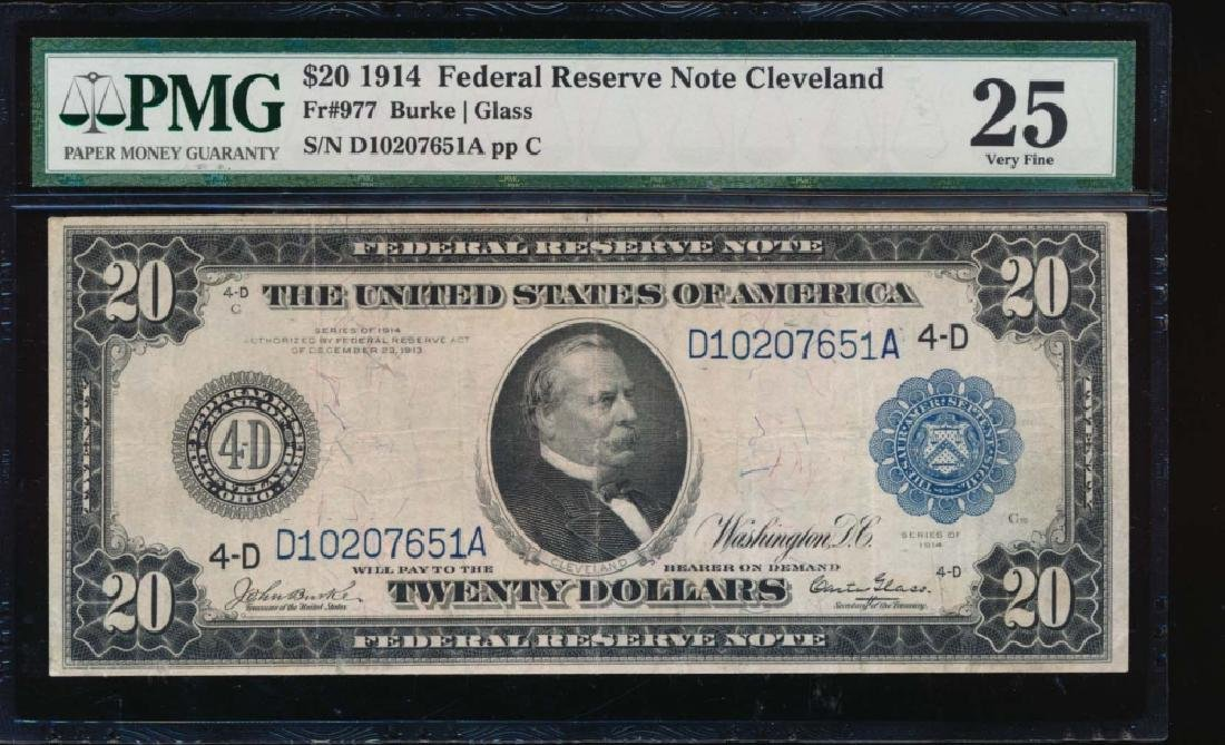 1914 $20 Cleveland Federal Reserve Note PMG 25