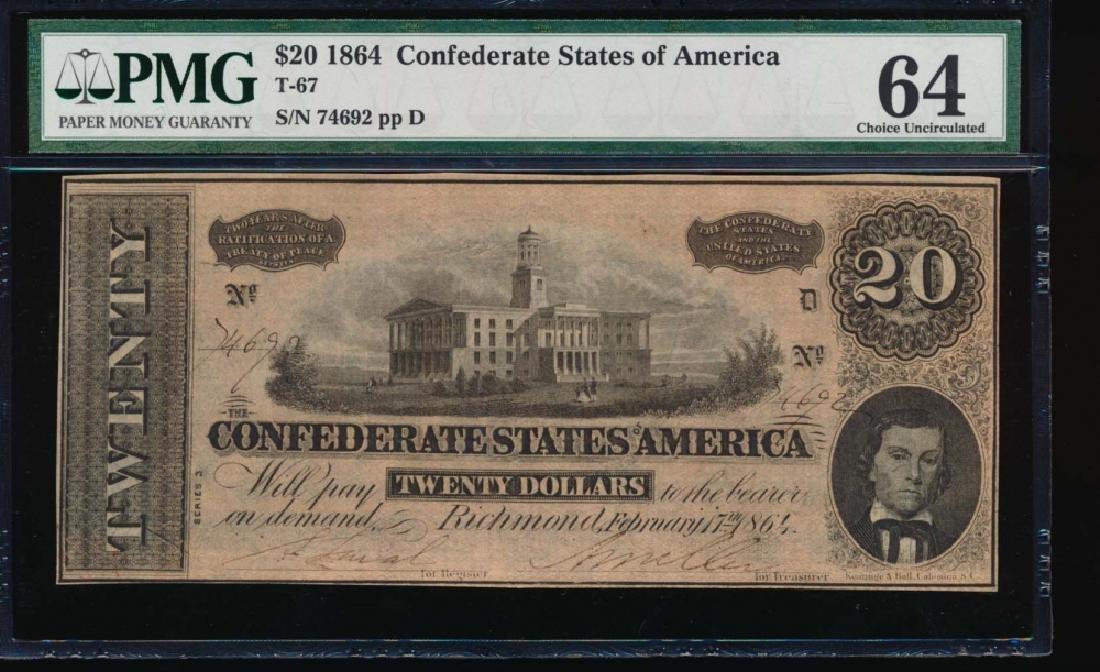 1864 $20 Confederate States of America Note PMG 64