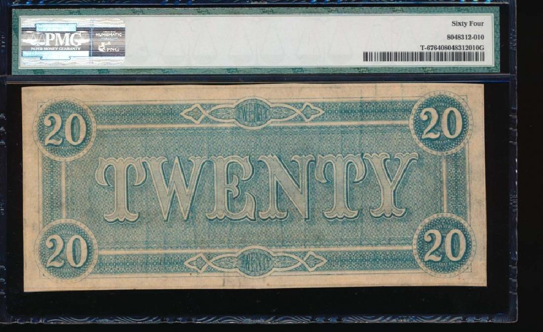 1864 $20 Confederate States of America Note PMG 64 - 2