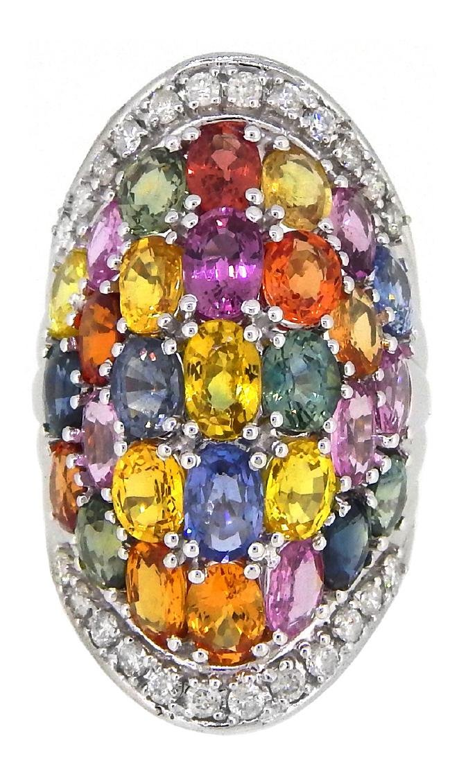 14KT White Gold 14.12ctw Multi Color Sapphire and