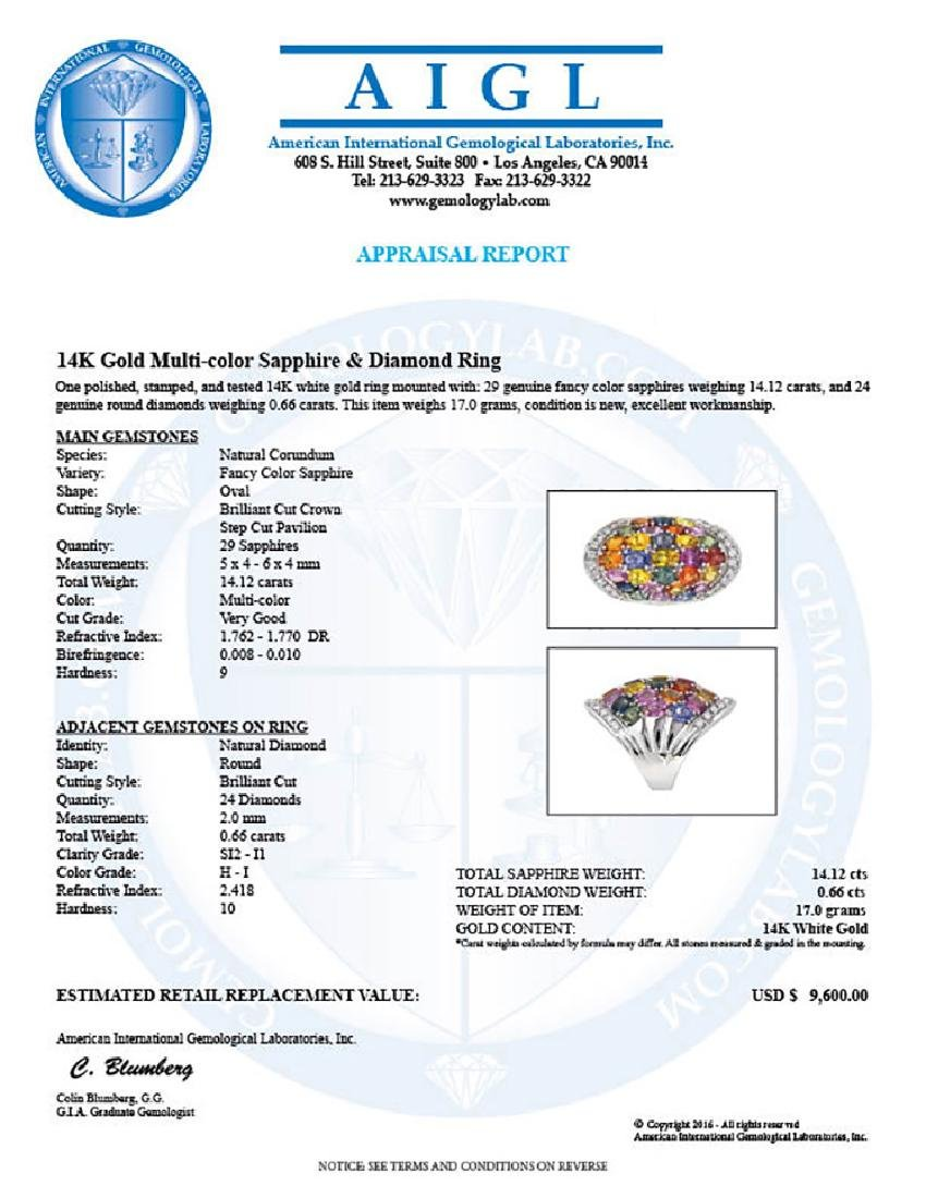 14KT White Gold 14.12ctw Multi Color Sapphire and - 3