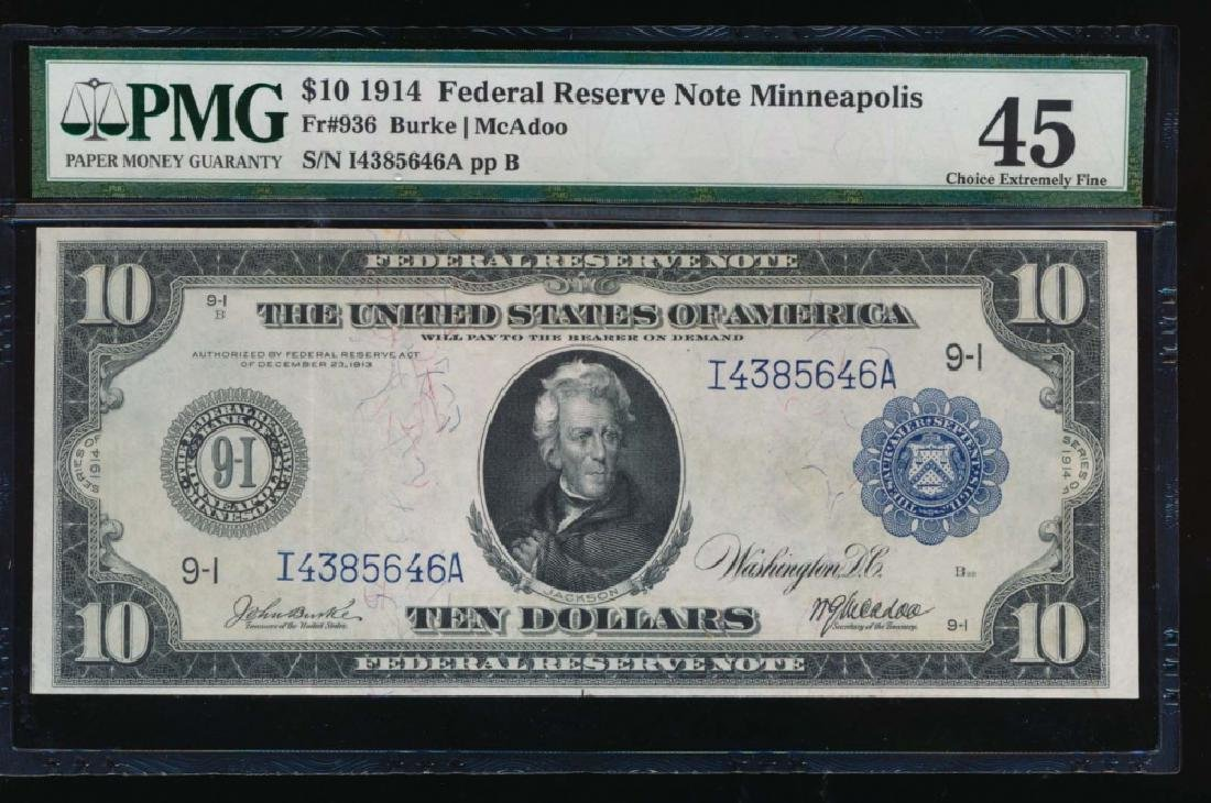 1914 $10 Minneapolis Federal Reserve Note PMG 45
