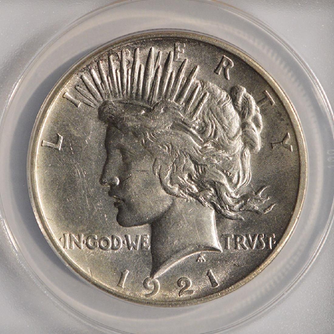 1921 $1 Peace Silver Dollar Coin ANACS AU58 - 3