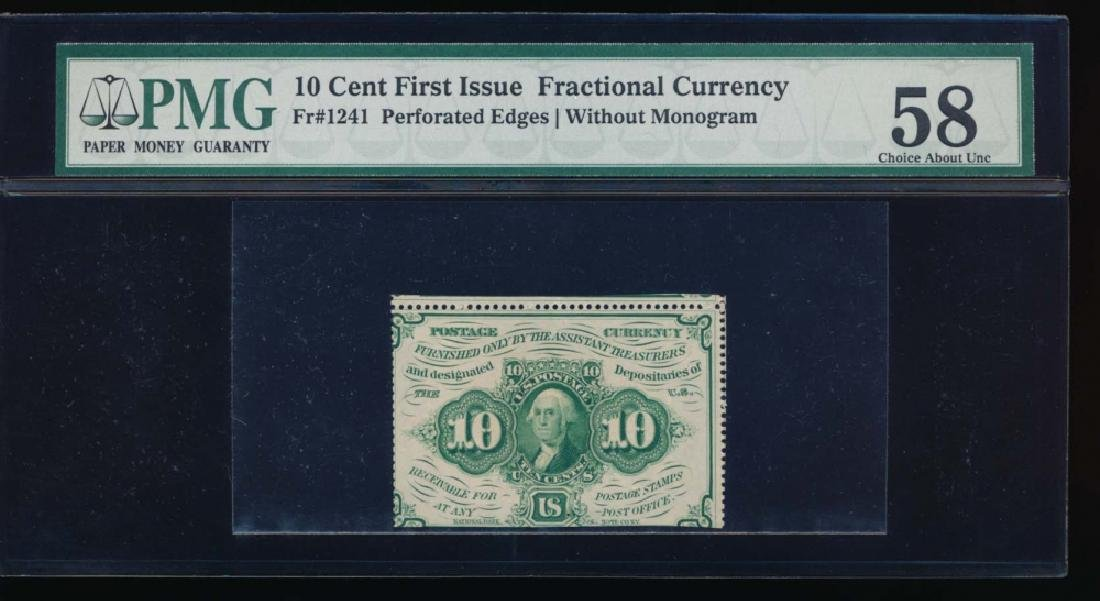 10 Cent Fractional Currency Note PMG 58