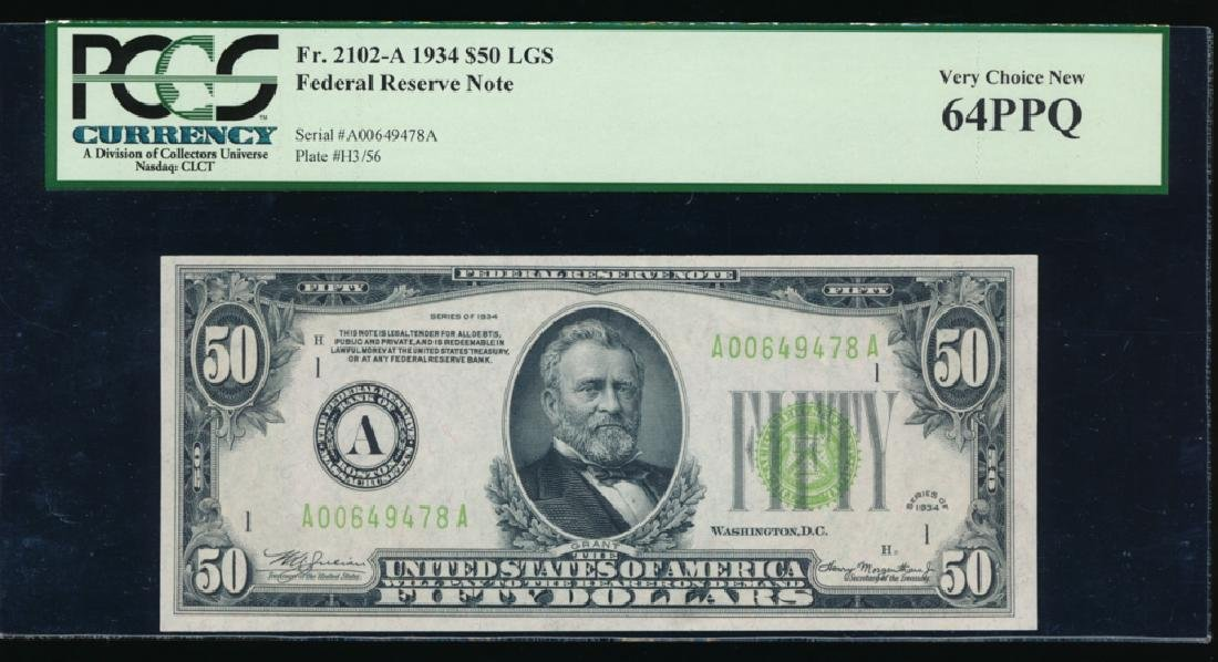 1934 $50 Boston Federal Reserve Note PCGS 64PPQ