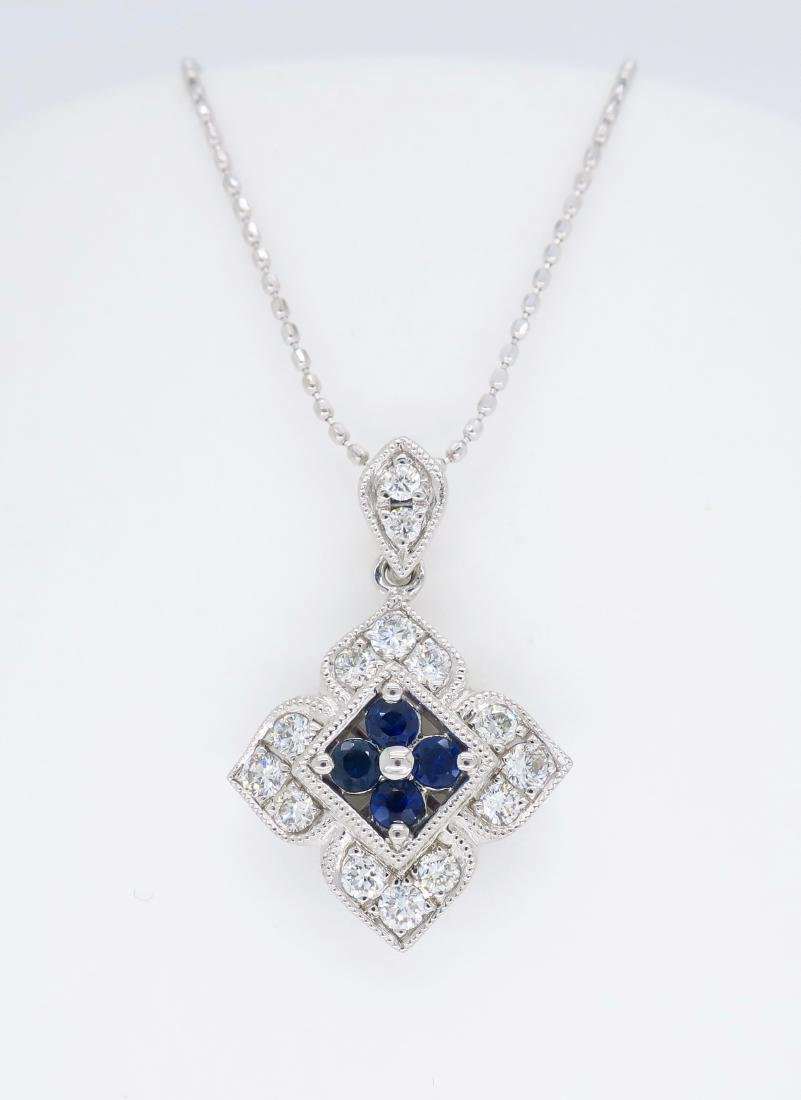 14KT White Gold Blue Sapphire and Diamond Pendant with