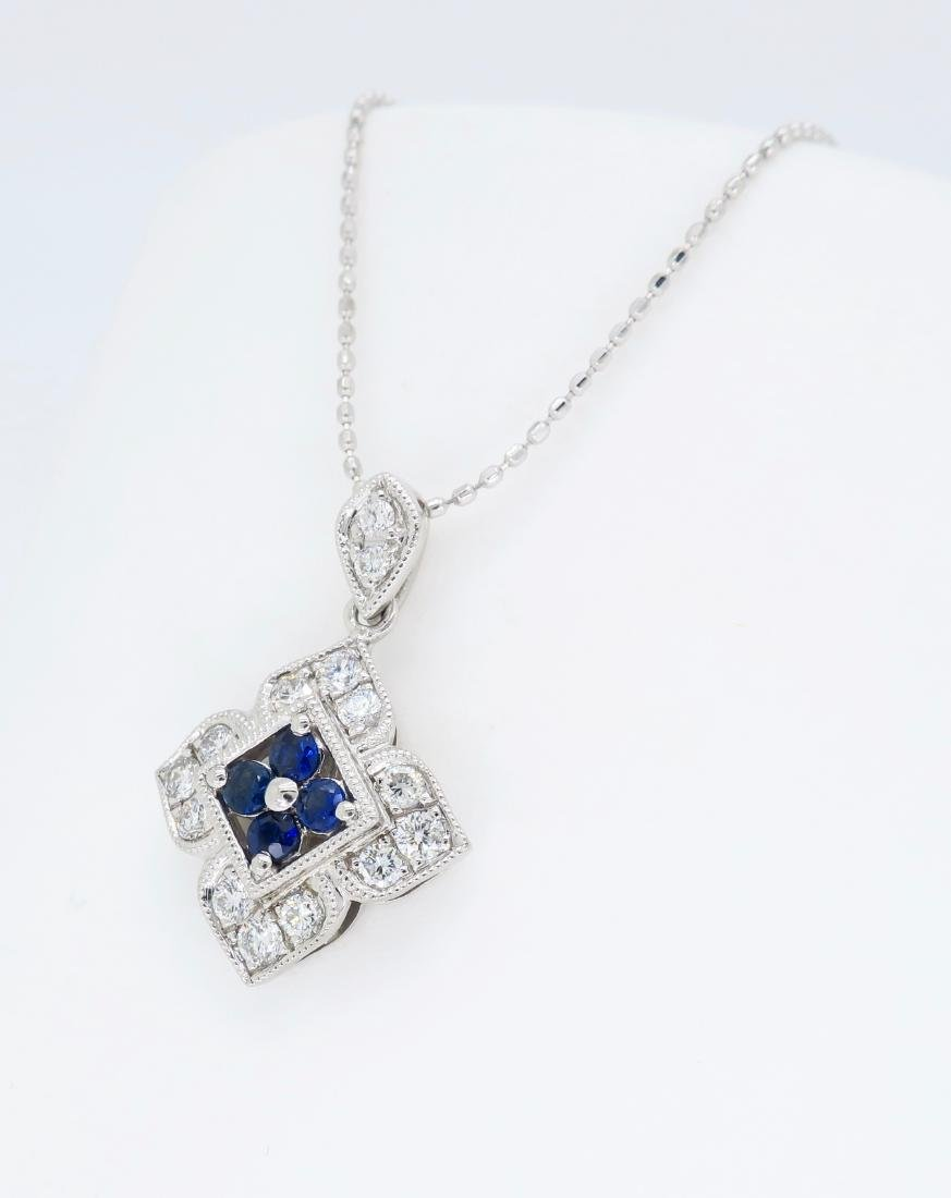 14KT White Gold Blue Sapphire and Diamond Pendant with - 2